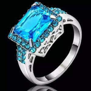 Silver Princess Cut Aquamarine Ring